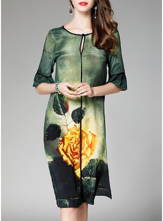 Silk With Print Knee Length Dress