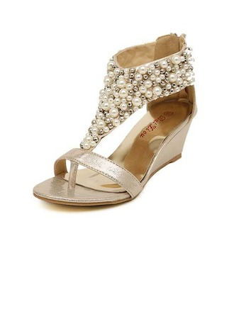 Women's Leatherette Wedge Heel Wedges With Imitation Pearl