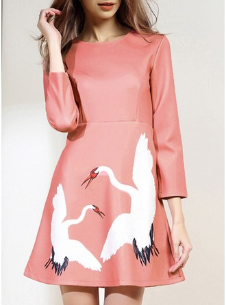 Polyester With Print/Crumple Above Knee Dress