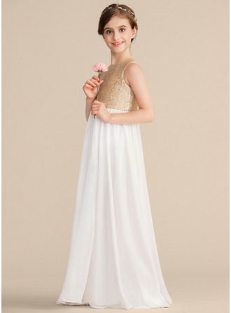 Scoop Neck Floor-Length Chiffon Sequined Junior Bridesmaid Dress