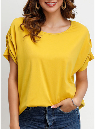 Short Sleeves Cotton Round Neck Knit Blouses