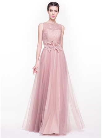 A-Line/Princess Scoop Neck Floor-Length Tulle Lace Evening Dress With Beading Flower(s) Sequins