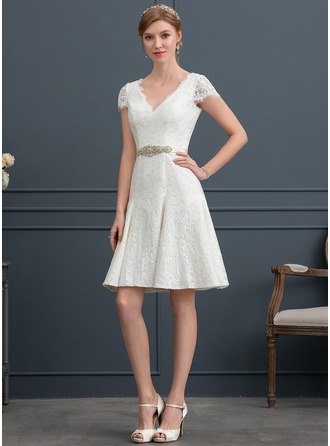 V-neck Knee-Length Lace Wedding Dress