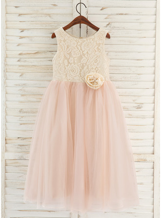 Tea-length Flower Girl Dress - Tulle Lace Sleeveless Scoop Neck With Flower(s)