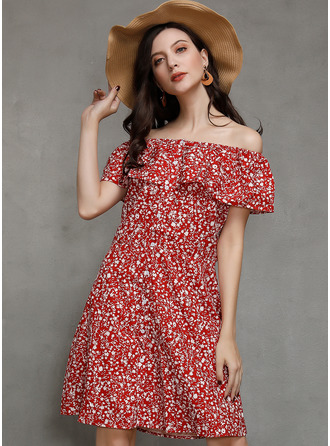 Cotton With Button/Print/Ruffles Above Knee Dress