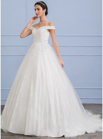 Ball-Gown Off-the-Shoulder Sweep Train Tulle Lace Wedding Dress With Beading Sequins