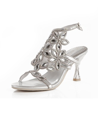 Women's Leatherette Stiletto Heel Peep Toe Pumps Sandals Slingbacks With Buckle Rhinestone