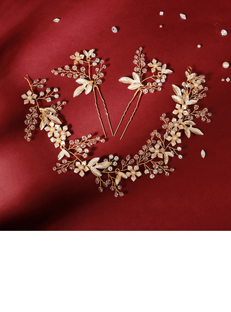Ladies Beautiful Crystal/Rhinestone/Alloy/Imitation Pearls Combs & Barrettes With Rhinestone (Set of 3)