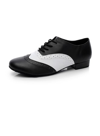 Men's Real Leather Heels Pumps Modern Dance Shoes
