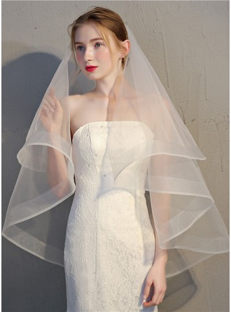 Two-tier Pencil Edge Fingertip Bridal Veils