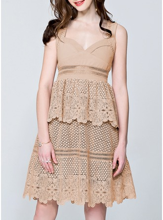 Cotton/Lace With Lace/Stitching/Pierced Above Knee Dress