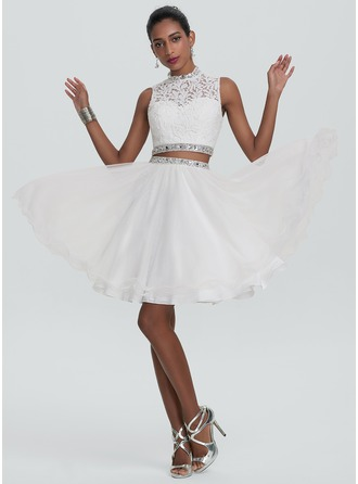A-Line/Princess High Neck Knee-Length Tulle Homecoming Dress With Beading Sequins