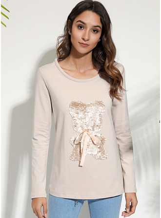Long Sleeves Polyester Round Neck Футболка Блузы