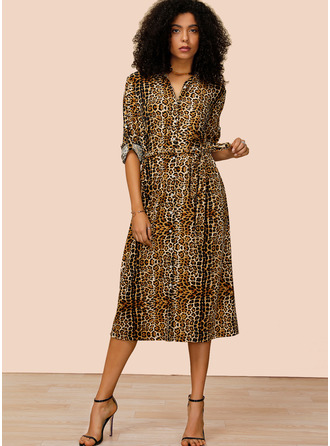 Polyester/Spandex With Button/Print Midi Dress