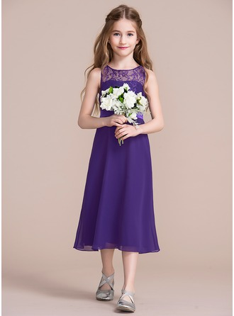 Scoop Neck Tea-Length Chiffon Junior Bridesmaid Dress