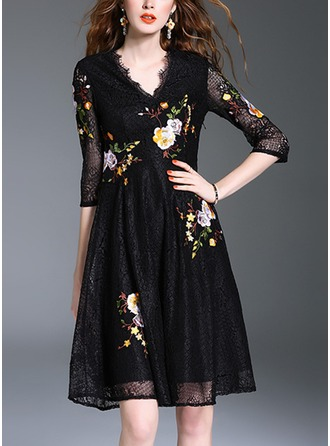 Lace With Lace/Embroidery Knee Length Dress