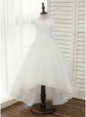 Asymmetrical Flower Girl Dress - Satin Tulle Sleeveless Scoop Neck With V Back