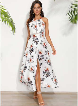 Polyester With Print Maxi Dress