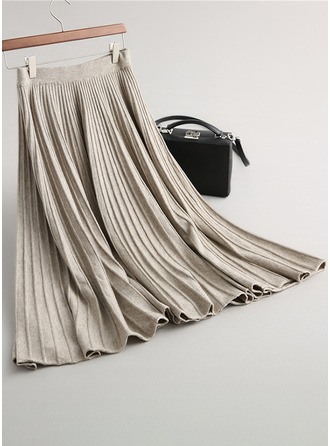 Pleated Skirts Maxi Plain Knitting Skirts