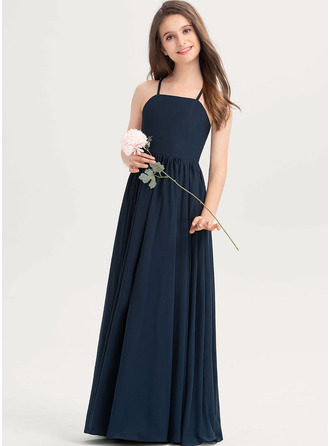 Square Neckline Floor-Length Chiffon Junior Bridesmaid Dress With Bow(s)