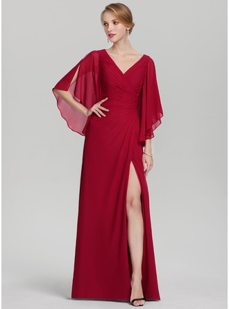 A-Line/Princess V-neck Floor-Length Chiffon Mother of the Bride Dress With Ruffle Split Front