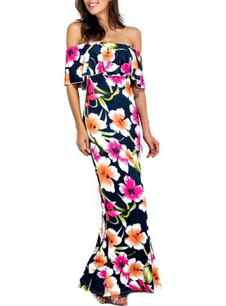 Polyester With Stitching/Print/Ruffles Maxi Dress