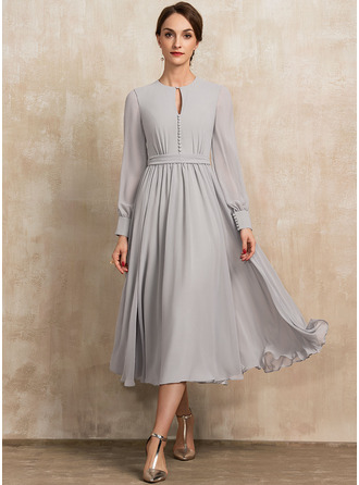 Scoop Neck Tea-Length Chiffon Mother of the Bride Dress With Bow(s)