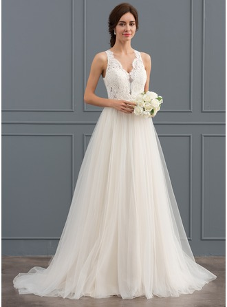 V-neck Sweep Train Tulle Lace Wedding Dress