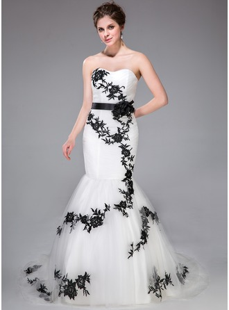 Trumpet/Mermaid Sweetheart Court Train Tulle Wedding Dress With Sash Appliques Lace Flower(s) Bow(s)