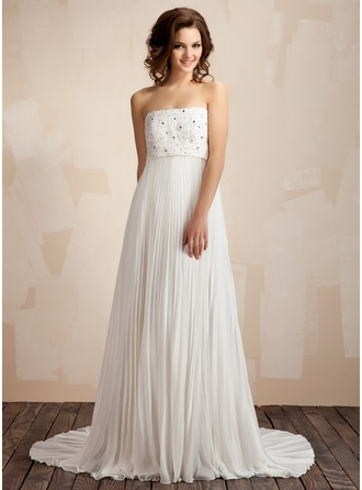 Empire Strapless Court Train Chiffon Lace Wedding Dress With Lace Beading Pleated 002011587
