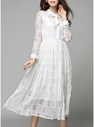 Lace With Lace/Stitching/Embroidery/Hollow Midi Dress