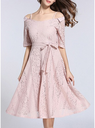 Lace With Lace/Embroidery/Hollow Midi Dress
