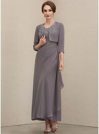 Square Neckline Ankle-Length Chiffon Mother of the Bride Dress With Lace Sequins Cascading Ruffles