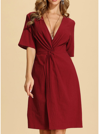 Cotton With Crumple/Solid/Slit Knee Length Dress