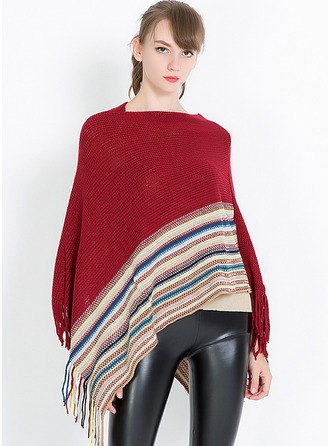 Striped Oversized/fashion/simple Charmeuse Poncho