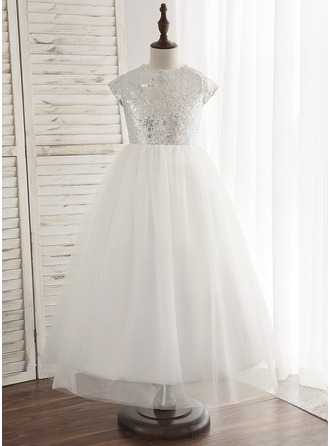 Ankle-length Flower Girl Dress - Tulle Sequined Sleeveless Scoop Neck With Back Hole