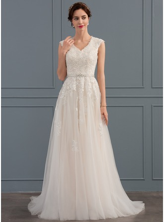 A-Line/Princess V-neck Sweep Train Tulle Wedding Dress With Beading Sequins Bow(s)