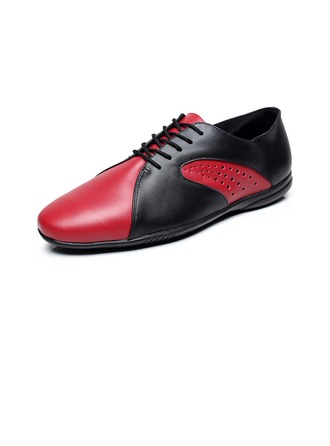 Men's Real Leather Flats Sneakers Practice With Hollow-out Dance Shoes