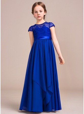 A-Line/Princess Floor-length Flower Girl Dress - Chiffon/Charmeuse/Lace Short Sleeves Scoop Neck With Bow(s)