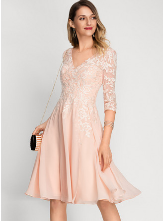 V-neck Knee-Length Chiffon Cocktail Dress With Sequins