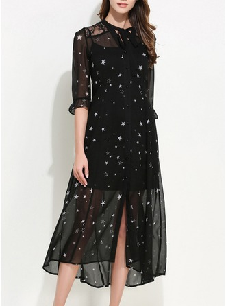 Chiffon With Lace/Bowknot/Print Midi Dress (Two Pieces )