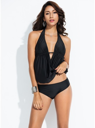 Elegant Solid Color Polyester Tankinis Swimsuit