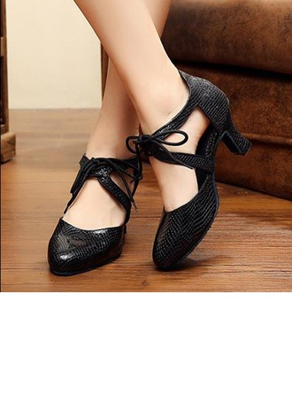 Women's Leatherette Pumps Ballroom With Lace-up Dance Shoes