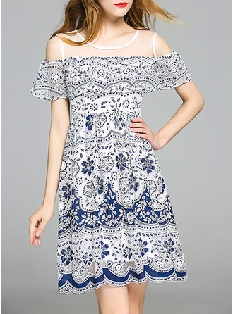 With Stitching/Print Above Knee Dress