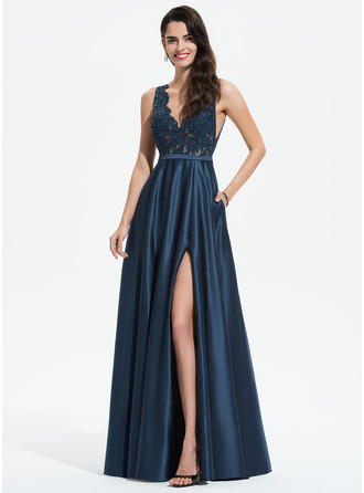 A-Line V-neck Floor-Length Satin Prom Dresses With Lace Sequins Split Front