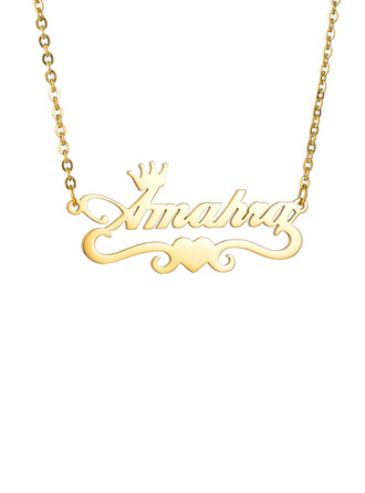 Custom 18k Gold Plated Heart Name Necklace With Crown Heart -