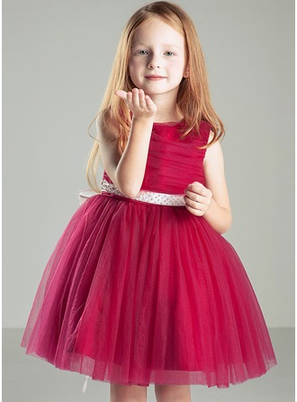 A-Line/Princess Knee-length Flower Girl Dress - Organza/Cotton Blends Sleeveless Scoop Neck With Bow(s)