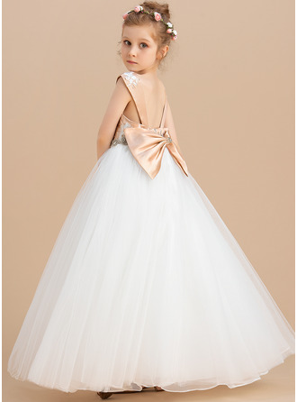 Ball-Gown/Princess Floor-length Flower Girl Dress - Satin Tulle Lace Sleeveless Scoop Neck With Beading