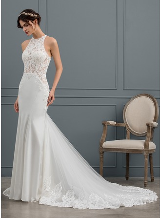 Trumpet/Mermaid Scoop Neck Chapel Train Stretch Crepe Wedding Dress With Sequins