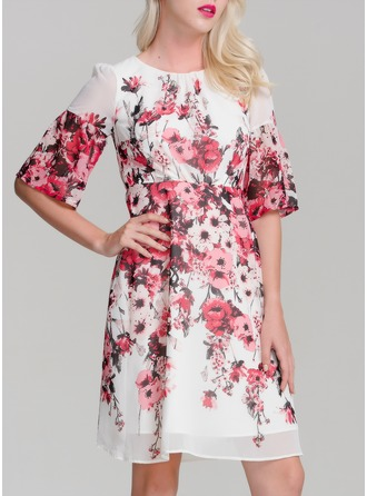 Chiffon With Print/Crumple Above Knee Dress